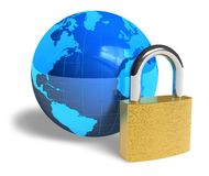 Internet security concept. Blue Earth globe and padlock isolated over white background Royalty Free Stock Image