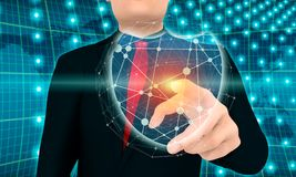 Internet security concept. Abstract polygonal shield. Molecule and communication design. Connected lines with dots. Businessman pushing button on virtual screen Stock Photos