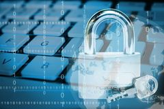 Internet security concept. Close up photo of computer keyboard with padlock and decorative binary numbers, internet security concept stock photos