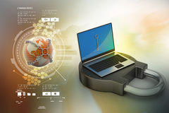 Internet security concept. In color background Royalty Free Stock Photography
