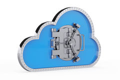Internet Security Concept. 3d Cloud with Safe Door Stock Image