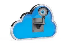 Internet Security Concept. 3d Cloud with Security Camera Stock Photos