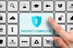 Internet security concept, girl`s finger above the big button on the keyboard. Internet security concept, finger above the button on the keyboard Royalty Free Stock Images