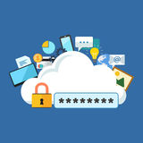 Internet security concept. Flat design stylish. Royalty Free Stock Photography