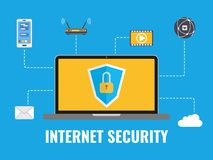 Internet security concept.. Data protection. Security elements. Laptop with internet icons on blue background. Vector illustration Stock Images