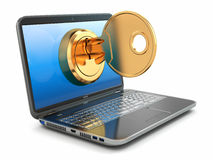 Internet security concept. Key and laptop. Royalty Free Stock Image