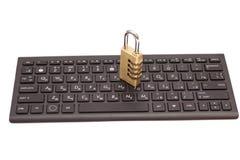 Internet security concept : padlock on black keyboard Royalty Free Stock Photo