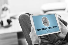 Internet security concept on a tablet. Tablet screen displaying an internet security concept stock photos