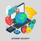 Internet Security Isometric Design Concept. Internet security design concept set of laptop email http lock wifi modem globe isometric icons 3d vector Royalty Free Stock Photography