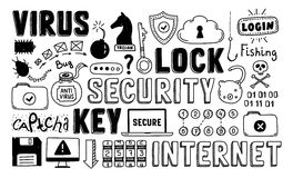 Internet security doodle vector set vector illustration