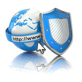 Internet security. Earth, browser address line and shield. 3d royalty free illustration