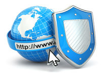 Internet security. Earth, browser address line and shield. Royalty Free Stock Photos