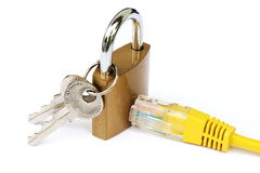 Internet security and encryption. Encrypted and secure internet connection visualized by a lock and keys Royalty Free Stock Photography