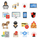 Internet Security Flat Icon Set Royalty Free Stock Photo