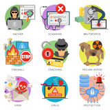 Internet Security Flat Icon Set Stock Image
