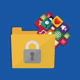 Internet security folder files social media icons. Illustration eps 10 Stock Images