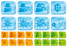 Internet security glass icons Royalty Free Stock Image