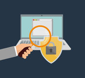 Internet security hand search file Royalty Free Stock Image