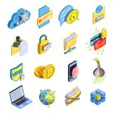 Internet Security Icon Set. Data encryption cyber security isometric icons collection of isolated symbols bitcoin fingerprint and proxy avoidance pictograms Royalty Free Stock Image