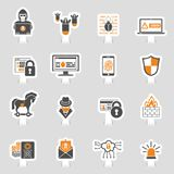 Internet Security Icon Sticker Set. For Flyer, Poster, Web Site Like Hacker, Virus, Spam and Firewall. Vector illustration Royalty Free Stock Image