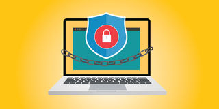 Internet security illustration with chain and padlock Royalty Free Stock Image