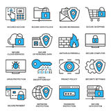 Internet security information protection icons. Information protection internet security outline linear blue icon set Royalty Free Stock Photos