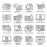 Internet security information protection icons. Internet security information protection outline linear icon set Royalty Free Stock Photos