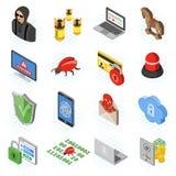 Internet Security isometric Flat Icon Set Royalty Free Stock Photography