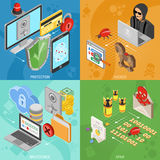 Internet Security Isometric square Banners Stock Photo