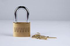Internet Security with Keys. Lock and keys symbolizing Internet security stock photography
