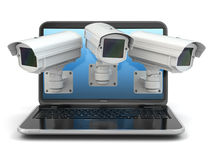 Internet security. Laptop and CCTV Royalty Free Stock Photo