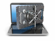 Internet security.Laptop and opening safe deposit box's door. Stock Photo