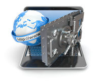 Internet security. Laptop and opening safe deposit box's door. Stock Photos