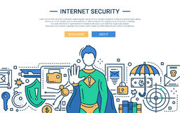 Internet Security - line design website banner Stock Photo