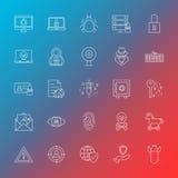 Internet Security Line Icons. Vector Illustration of Outline Hacker Symbols over Blurred Background Royalty Free Stock Images