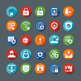 Internet Security Long Shadow Icons Stock Photos