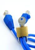 Internet security metaphor. Padlock and LAN cable, perfect internet security metaphor Stock Photos