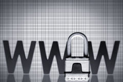 Internet security: Padlock with WWW. Royalty Free Stock Images