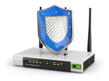 Internet security. Router with shield. Royalty Free Stock Photography