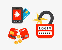 Internet security safety icon virus attack vector data protection technology network concept design. Internet security safety icon virus attack vector data Stock Photo