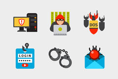 Internet security safety icon virus attack vector data protection technology network concept design. Internet security safety icon virus attack vector data Royalty Free Stock Photos