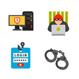 Internet security safety icon virus attack vector data protection technology network concept design. Stock Images