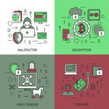 Internet Security Square Icon Set Stock Photography