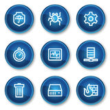 Internet security web icons, blue circle buttons Stock Photo