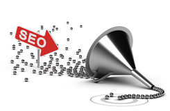 Internet SEO Campaign Concept. Funnel with many chrome balls at the output there is a grey target, at the enter there is an arrow with the word SEO - Abstract Royalty Free Stock Photo
