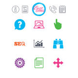 Internet, seo icons. Analysis chart sign. Information, report and calendar signs. Internet, seo icons. Analysis chart, page and computer signs. Question speech Royalty Free Stock Photos