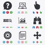 Internet, seo icons. Analysis chart sign Stock Photos