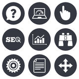 Internet, seo icons. Analysis chart sign Royalty Free Stock Photography