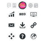 Internet, seo icons. Bandwidth speed sign. Chat speech bubble, report and calendar signs. Internet, seo icons. Bandwidth speed, download arrow and mail signs royalty free illustration