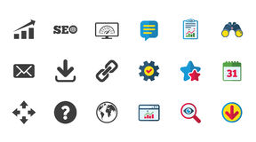 Internet, seo icons. Bandwidth speed sign. Internet, seo icons. Bandwidth speed, download arrow and mail signs. Hyperlink, monitoring symbols. Calendar, Report royalty free illustration